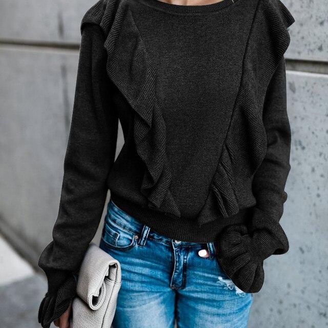 Vintage élégant volants Style court tricoté pull femmes 2019 mode O cou manches longues doux pulls Chic hauts bouffée Femme