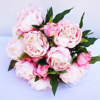 YO CHO Big Peony Flower Artificial Silk Fake Wedding Home Party Decorative 3 Heads Flowers Planner Supplies