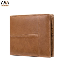 Men's Genuine Leather money clip First layer cowhide card holder of wallet RFID anti-theft retro casual large bill bag