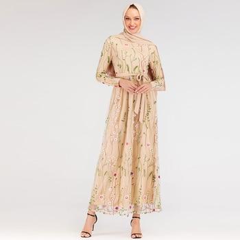 Muslim Fashion Dress Floral Abaya Dubai Turkish Dresses Islam Caftan Maroc Kaftan Qatar Oman Islamic