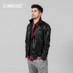 Image 1 - SIMWOOD 2020 spring New Slim Fit PU Leather Biker Jacket Motorcycle Fashion Zipper Streetwear High quality brand clothes 980652