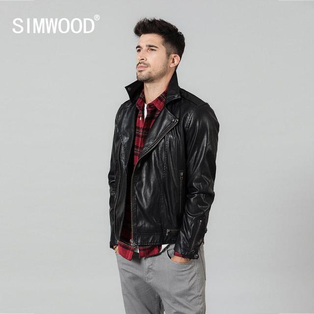 SIMWOOD 2020 spring New Slim Fit PU Leather Biker Jacket Motorcycle Fashion Zipper Streetwear High quality brand clothes 980652