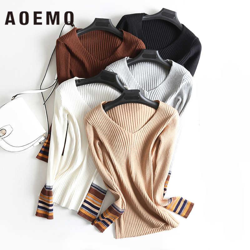 AOEMQ 새로운 패션 스웨터 한 사이즈 5 색 스트라이프 맞는 섹스 v-목 여성 탑 여성 의류 얇은 스웨터 겨울 의류
