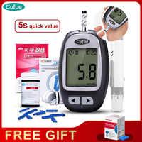Cofoe yizhen измеритель уровня глюкозы в крови и тест-полоски и Ланцеты 50/60 шт. Комплект глюкометра медицинский диабет сахара в крови диабетическ...