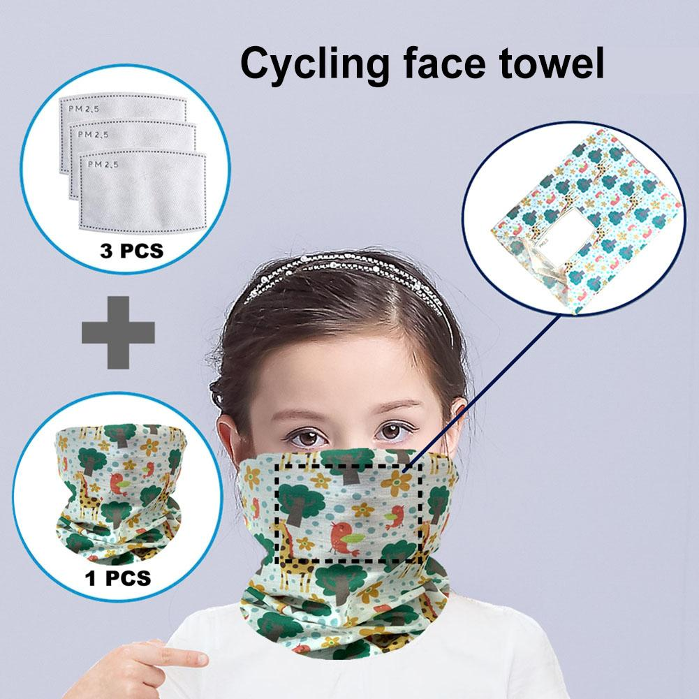 Kids Splash-proof Anti UV Dust Face Cover Outdoor Bandana Neck Gaiter Scarf With Filters Stop The Flying Spit For Summer