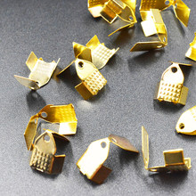 FLTMRH 30pcs 6mm*9mmmm wide Cord Crimp End Caps Buckle Gold silver color bronze rhodium for Necklace Bracelet chain Clasp to(China)