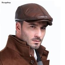 Мужская Уличная Кожаная шапка, Зимние береты, Мужская теплая Кепка с защитой ушей, натуральная кожа, шапка для папы,, шапка для отдыха