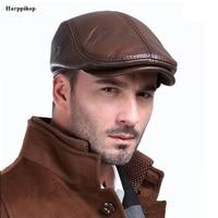 Men's outdoor leather hat winter Berets male warm Ear protection cap 100% genuine leather dad hat wholesale Leisure bone