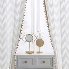 Modern WAVE สไตล์หน้าต่างม่าน Tulle สีขาววิลล่าตกแต่งแสงสำหรับห้องนอนห้องนั่งเล่นห้องครัว