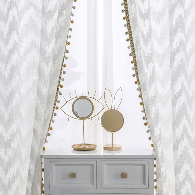 Modern dalga tarzı pencere tül perde saf beyaz Villa dekorasyon ışık geçirgenliği perdeler yatak odası oturma odası mutfak için