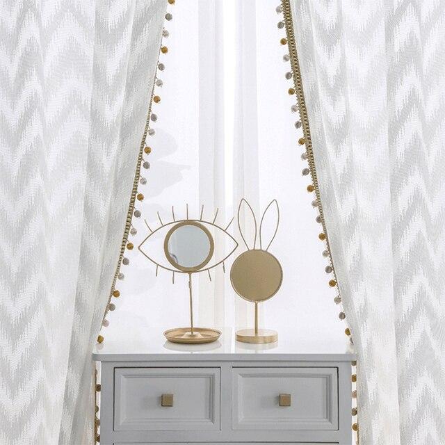 Nowoczesny styl fali tiul na firanki kurtyna czysta biała dekoracja willi transmisja światła zasłony do sypialni salon kuchnia