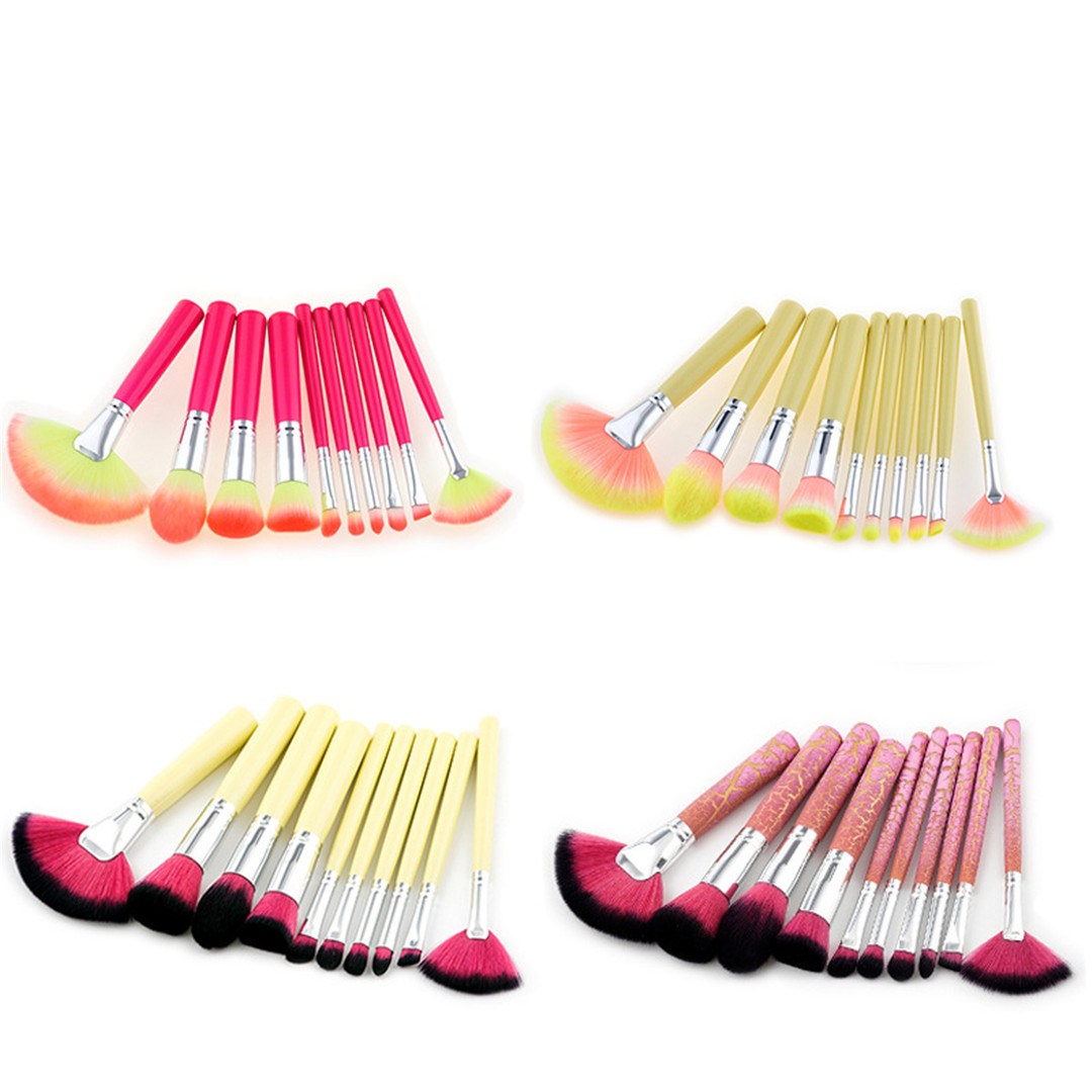 10 Makeup Brushes Set Makeup Tools Burst Crack Handle/yellow Handle/red Handle Fan-shaped Brush Nylon Hair