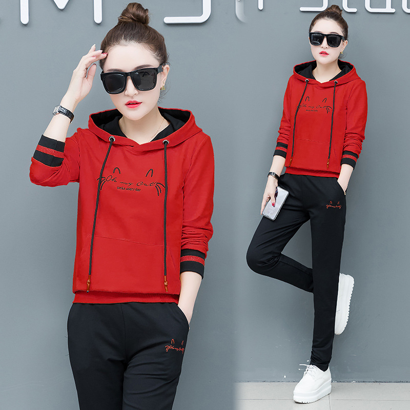 Sports Set WOMEN'S Dress Spring And Autumn Casual 2019 New Style Korean-style Slimming Fashion Large Size Hoodie Two-Piece Set F