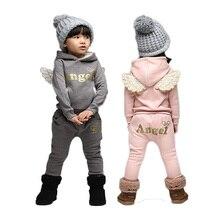 V TREE crianças conjunto de roupas de lã terno esportivo para o menino inverno ternos da criança para meninas asas crianças agasalho traje da escola do bebê
