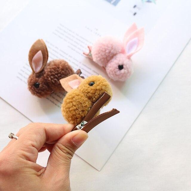 Fashion Cute Ball Rabbit Hair Ring Female Tie Rope Korean Elastic Rubber Hair Bands Bunny Hair Clip Children's Hair Accessories 2