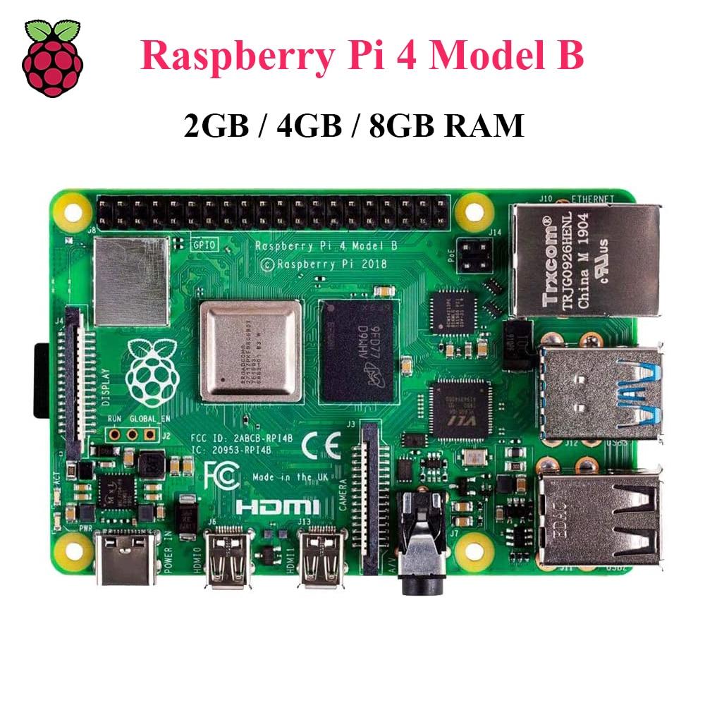 Original Raspberry Pi 4 Model B 2GB/4GB/8GB RAM BCM2711 Quad Core Cortex-A72 ARM V8 1.5GHz 2.4/5.0GHz WIFI Bluetooth 5.0 Pi4 4B