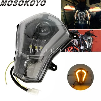 For KTM Duke 125 200 250 390 LED Front Headlight Assembly Auxiliary Light w/ Running Light DRL Indicator Turn Signal 2011-2016 image