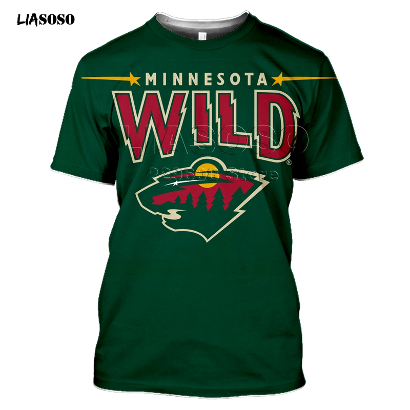 2020 Fashion 3D MINNESOTA  Print Harajuku T-shirt Trendy Baseball Hockey Team LOGO Sportswear WILD Short Sleeve Sweatshirt