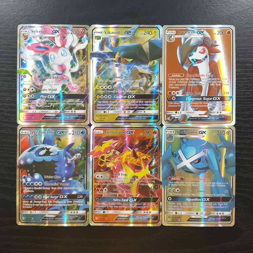 TAKARA TOMY Pokemon Cards Battle Shining Card Board Game Children Toys Gifts 89 GX 11 Trainer 100pcs Flash Cards Collections