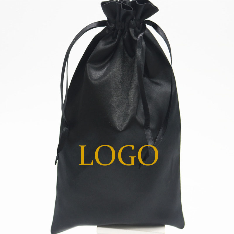 50PCS Luxury Black Satin Bags Packaging Hair Wig Extension Gift Bag Custom Logo Drawstring Bags 18x30/30x40cm Storage Pouch