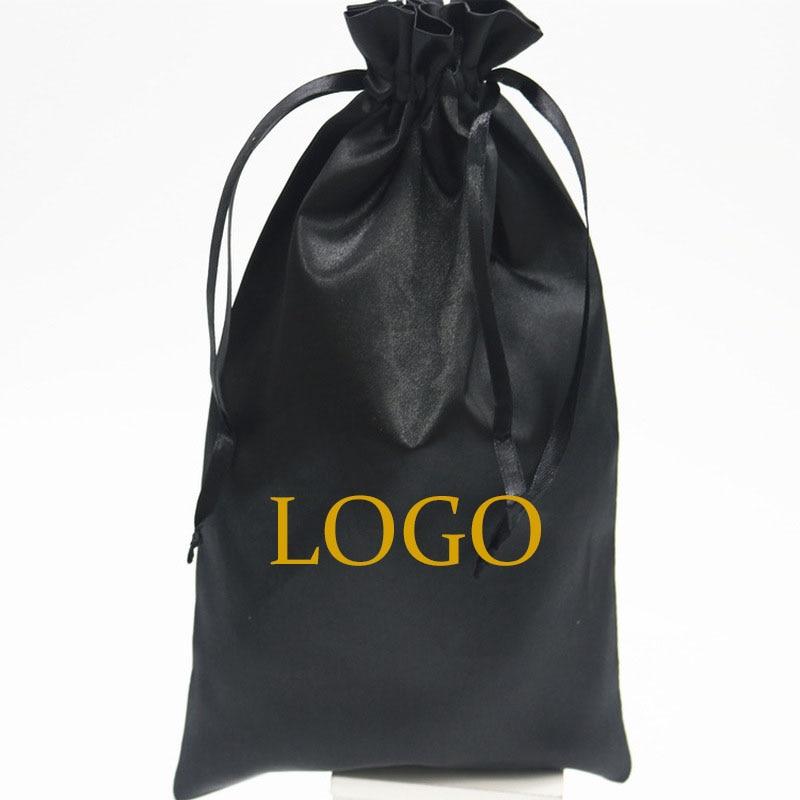 50PCS Luxury Black Satin Bags Packaging Hair Wig Extension Gift Bag Custom Logo Drawstring Bags 18x30/30x40cm Storage Pouch