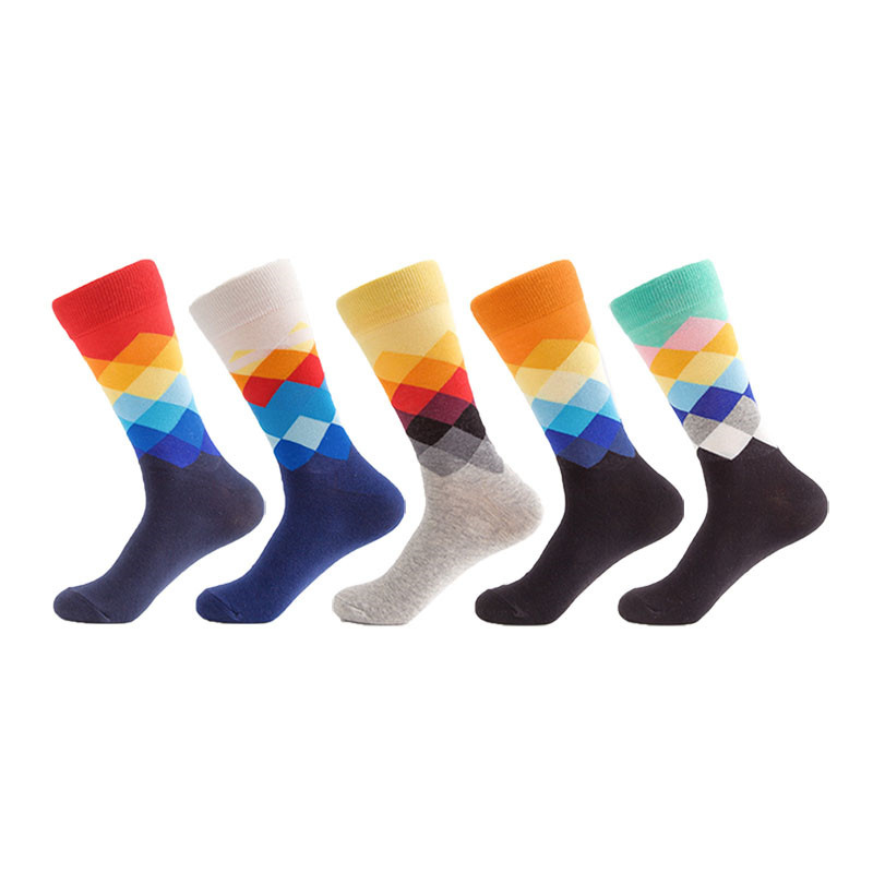 Fashion Men's Cotton Happy Socks Long Colorful Funny Men Art Socks Calcetines Hombre Divertidos Lager Size 5 Pairs/lot