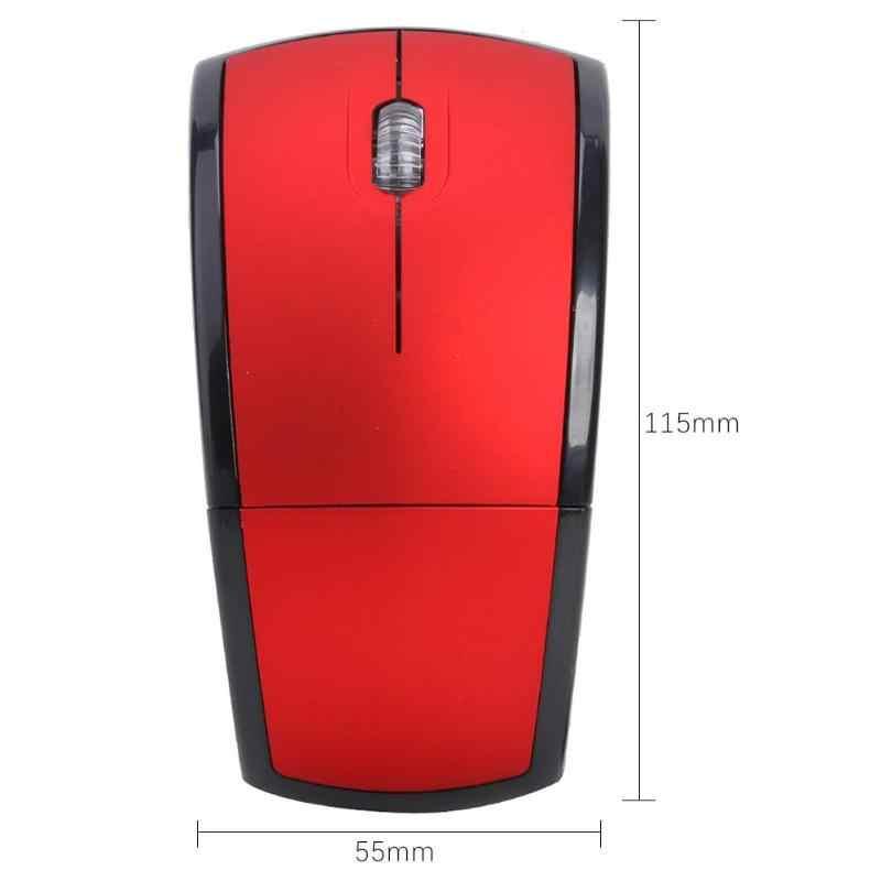 فأر عالمي لاسلكي فائق النحافة قابل للنقل 2.4G فأر بصري قابل للطي مزود بـ USB جهاز استقبال للكمبيوتر المكتبي والكمبيوتر المحمول
