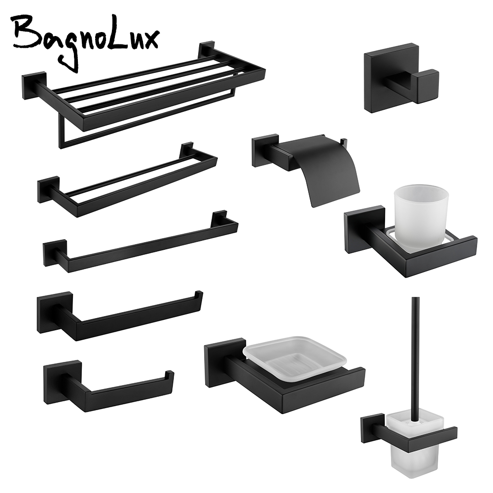 Black Wall-mounted Stainless Steel Clothes Hook Toilet Paper Holder Towel Bar Kitchen Facilities Hardware Bathroom Accessories