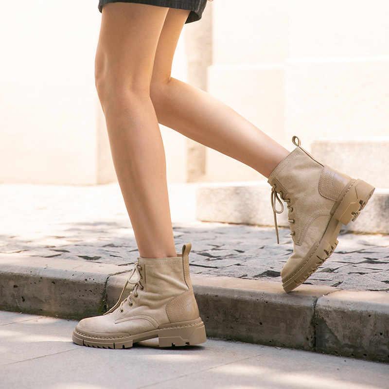 BeauToday çöl botları kadınlar hakiki inek süet deri yarım çizmeler yuvarlak ayak çapraz bağlı sonbahar kış kadın ayakkabı el yapımı 03431
