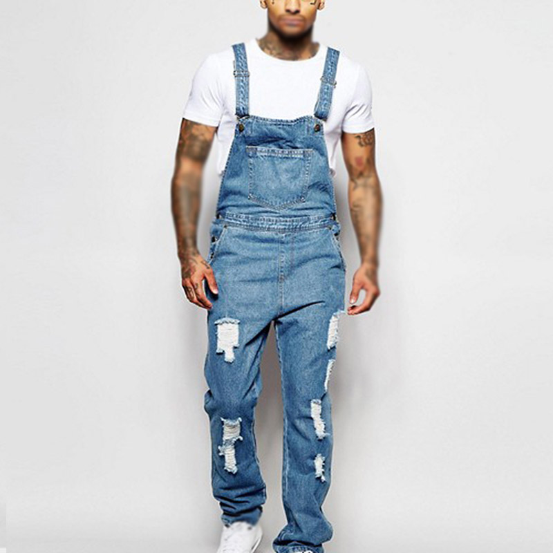 Men Jumpsuit Overall Party Summer Denim Long Playsuit Fashion Clubwear Ripped Loose Trouser