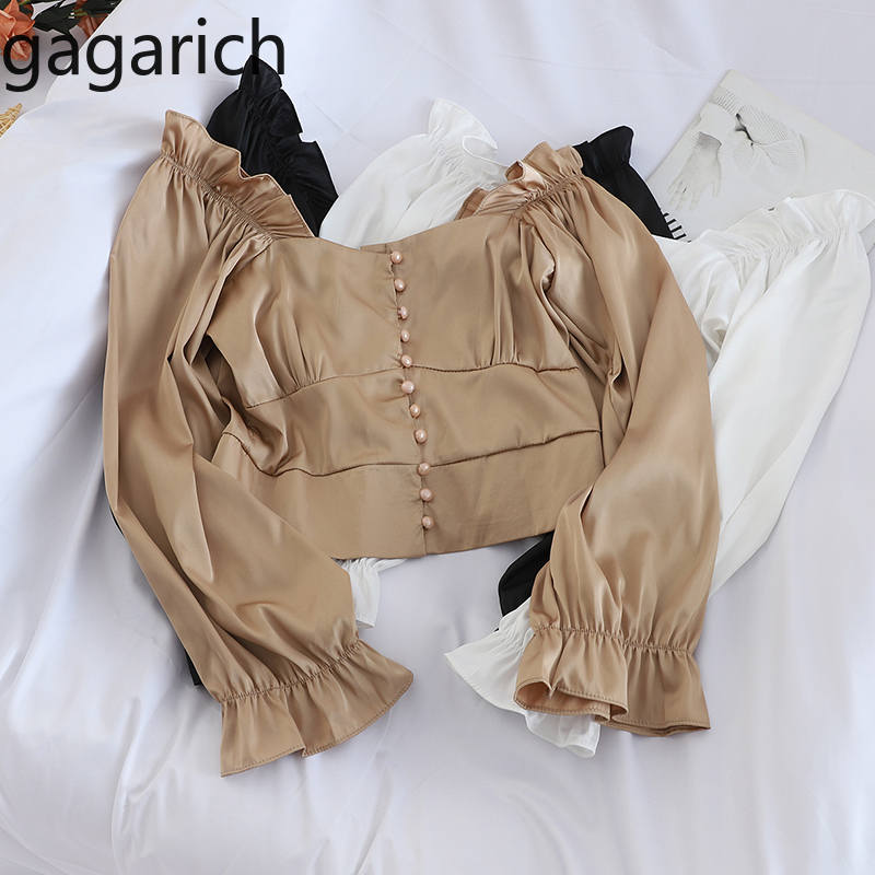 Gagarich Women Fashion Short Blouse Spring Square Collar Flare Sleeve Button Lady Bottom Tops Korean Slim Fit Solid Shirts Femme