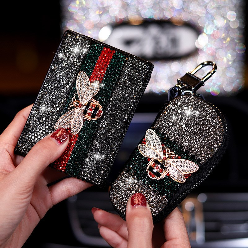 Bling Crystal Little Bee Leather Car Key Case Key Holder Zipper Key Wallet Drivers License Bag Car Accessories For Women Girls
