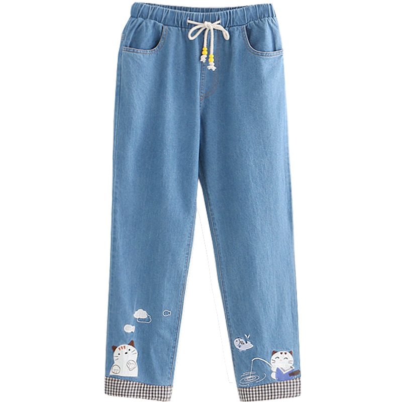 Autumn Cute Blue Denim Pants Teen Girl Mori Kawaii Cartoon Cat Casual Trousers Vintage Women 90 Student High Waist Stretch Jeans