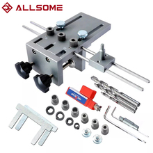 Locator Dowel-Jig-Kit Woodworking-Tool Adjustable ALLSOME for DIY 3-In-1 8/10mm