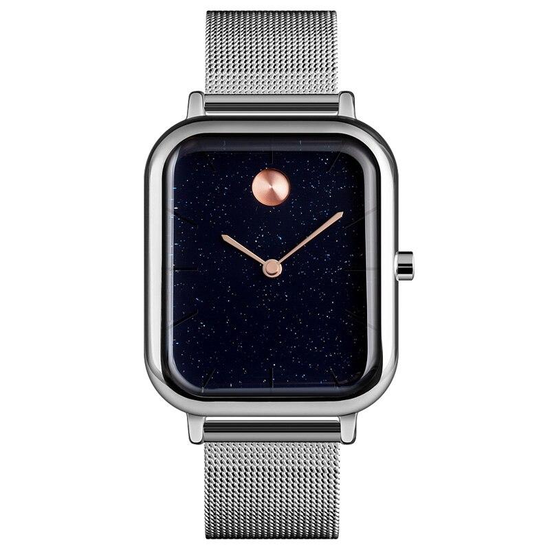 Couple Quartz Watch Innovative Starry Sky Rectangular Dial Men Women Wrist Watch LL@17