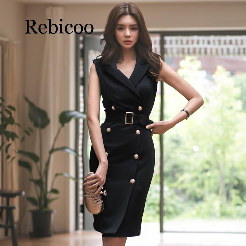 Women Summer Office Lady Belted Vestidos Sleeveless Work Wear Slim Double Button Sexy korean fashion style Dress clothes