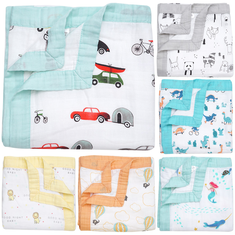 Dropshipping Infantil Envelope For Newborns Baby Blankets Swaddle 4 Layer Bamboo Cotton Muslin Diaper Multi-use Baby Bath Towel