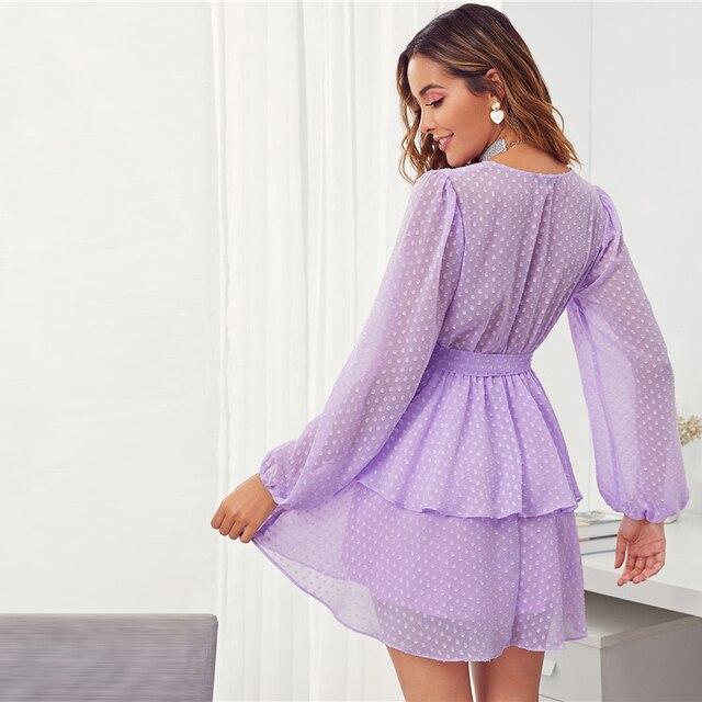 vestido purpura escote profundo manga larga Swiss 1