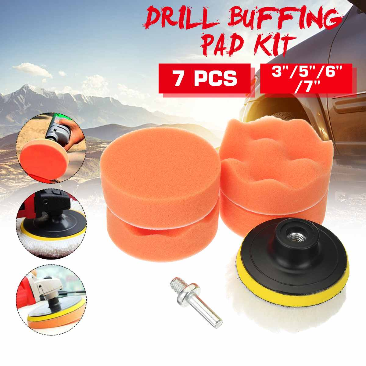 7Pcs Polishing Sponge Wheel Buffing Pad Set 3-7 Inch For Glass/Car Polisher With M10 Drill Adapter Pad For Electric Drill