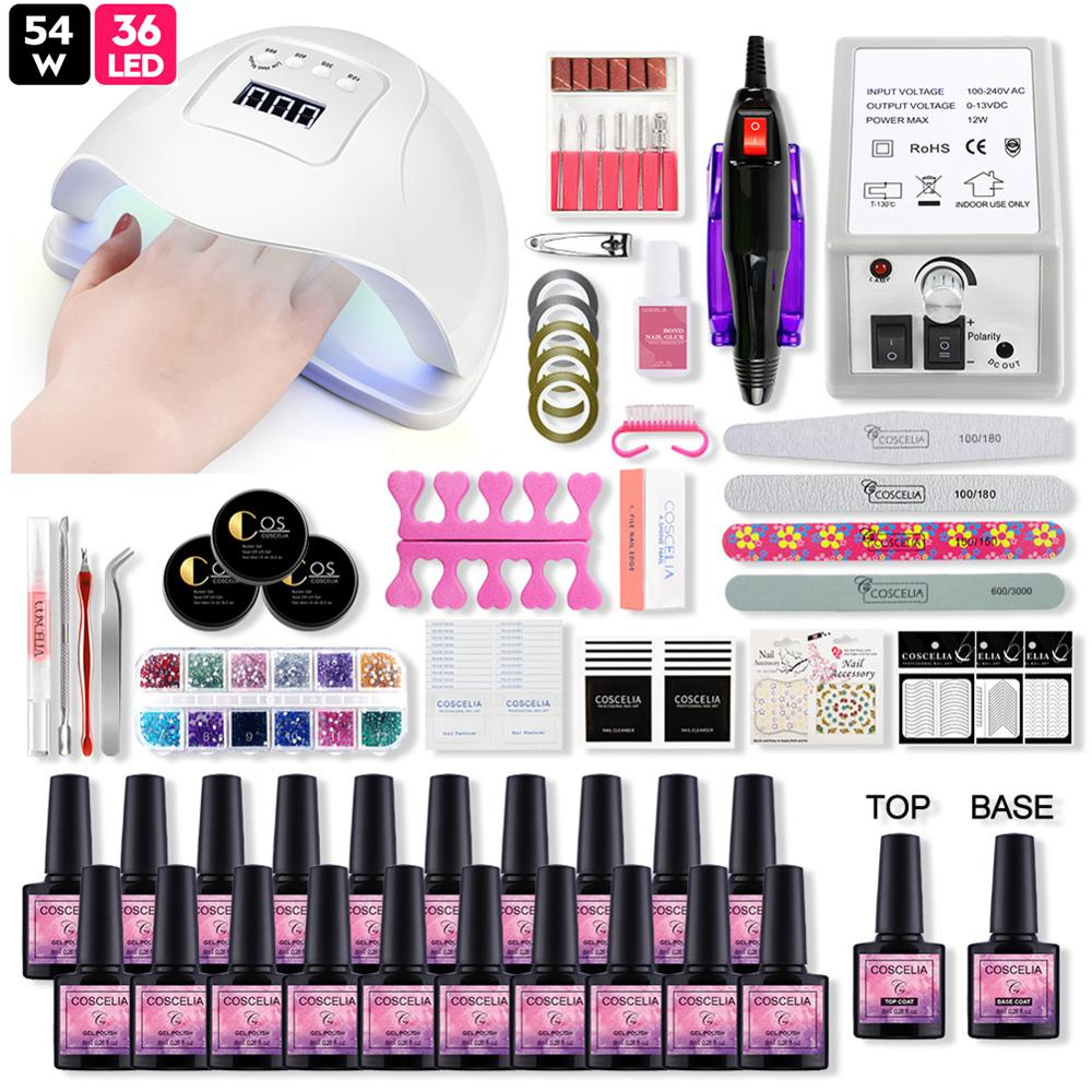 COSCELIA 20PCS Gel Nail Polish Set For Manicure With 54W Led Lamp Tools For Manicure Nail Art Nail Kit Pusher All For Manicure