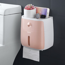LF82003 plastic toilet paper holder bathroom double tissue box wall mounted shelf storage dispenser