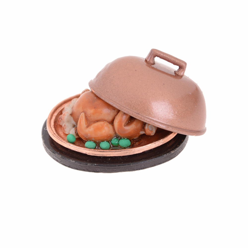 Classic Toys 1:12 Christmas Turkey With Lid Pretend Play Dollhouse Miniature Food Kitchen Toys Kids Children Gift