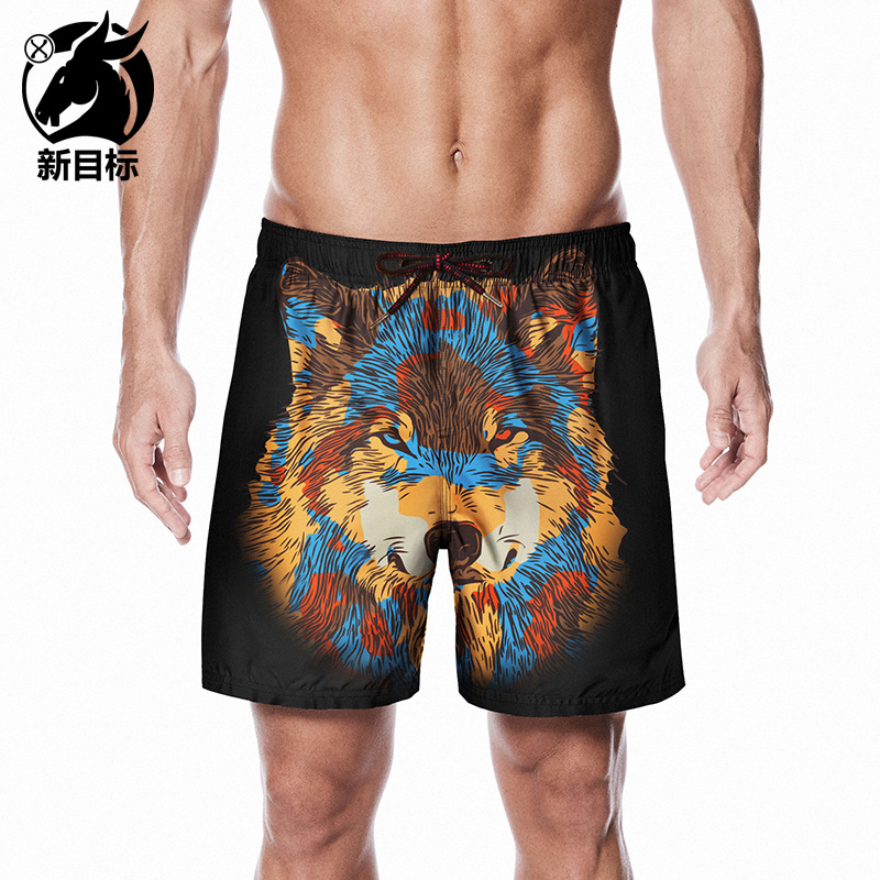 2019 New Style Summer Creative Wolf Head 3D Printed Surfing Quick-Dry Beach Shorts Large Size Peach Skin Lard-bucket Trunks Men'