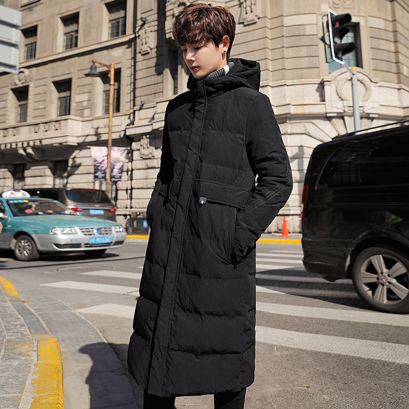 Hiver nouveau hommes long coton costume mince à capuche long manteau veste décontracté rue coupe vent 2019 hiver beau manteau chaud - 3