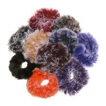 1 pc novo colorido leopardo impressão anel de cabelo de pelúcia pele scrunchies elásticos faixas de cabelo para mulheres imitação vison cabelo acessos