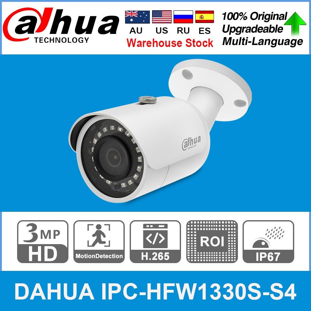 Dahua original IPC-HFW1330S-S4 3mp poe 30 m ir ip67 sd slot para cartão inteligente ir blc hlc dwdr mini bala câmera ip substituir IPC-HFW1320S