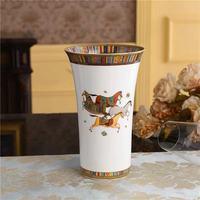 Bone China Horse Design Vase High Quality On Glaze Ceramic Flower pot Office Home Decoration Vase Dry Flower Accessories Modern
