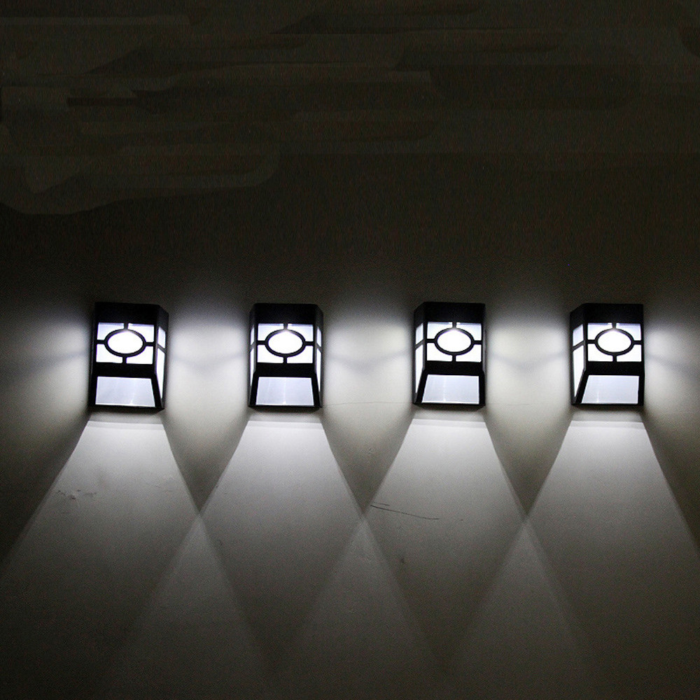 Solar 2 LED Outdoor Garden Wall Path Yard Landscape Light Lighting Cool White Warm White Home Garden Lamp Lights#25