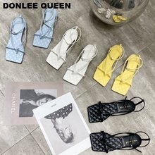 2020 Fashion Brand Embroidery Square Toe Sandals Women Flat Ankle Strap
