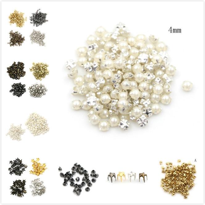 100 pièces artisanat 3/4MM perle boucle 2/2.5/5mm boucles 4mm champignon clou trompette Rivets bricolage Patchwork accessoires de couture (lot de 100)